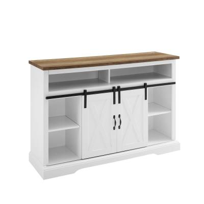 52 in. White Reclaimed Barnwood TV Console Fits TVs Up to 56 in. with Storage Doors