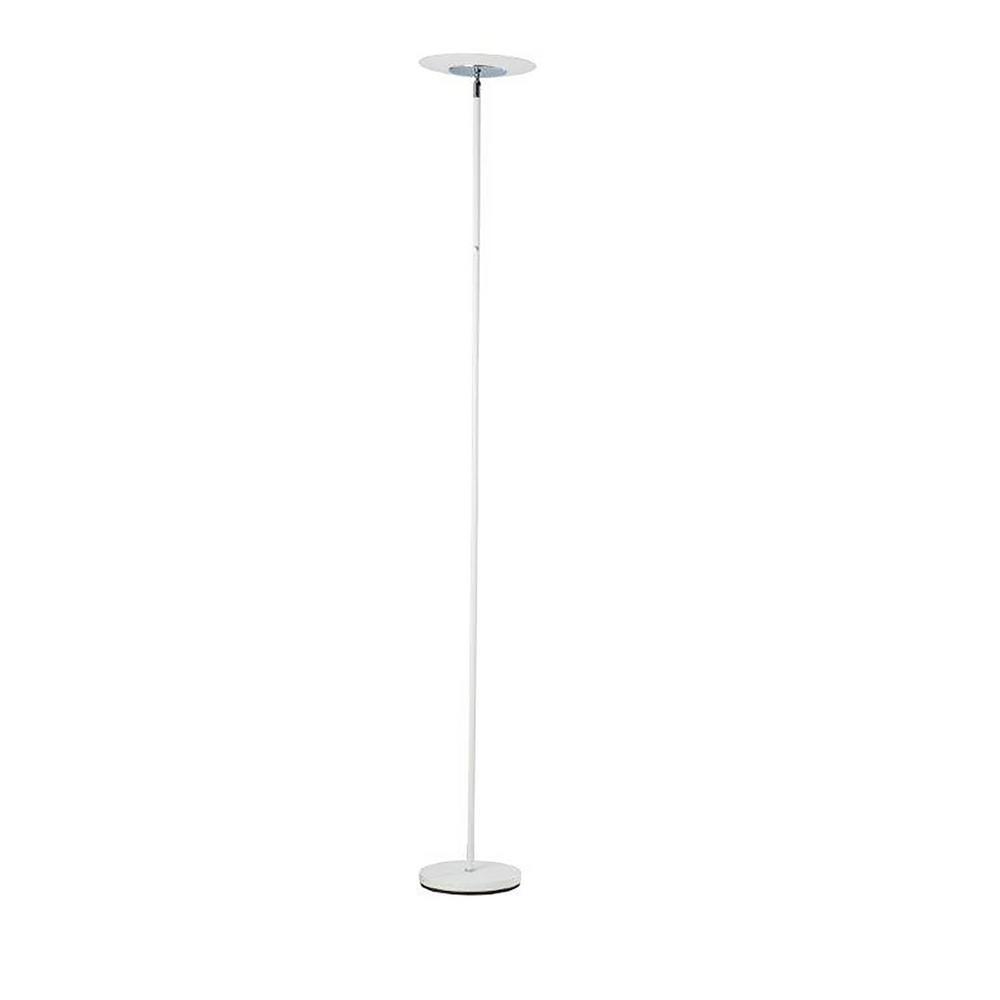 Ore International Linea 72 In Satin White Led Torchiere Floor Lamp
