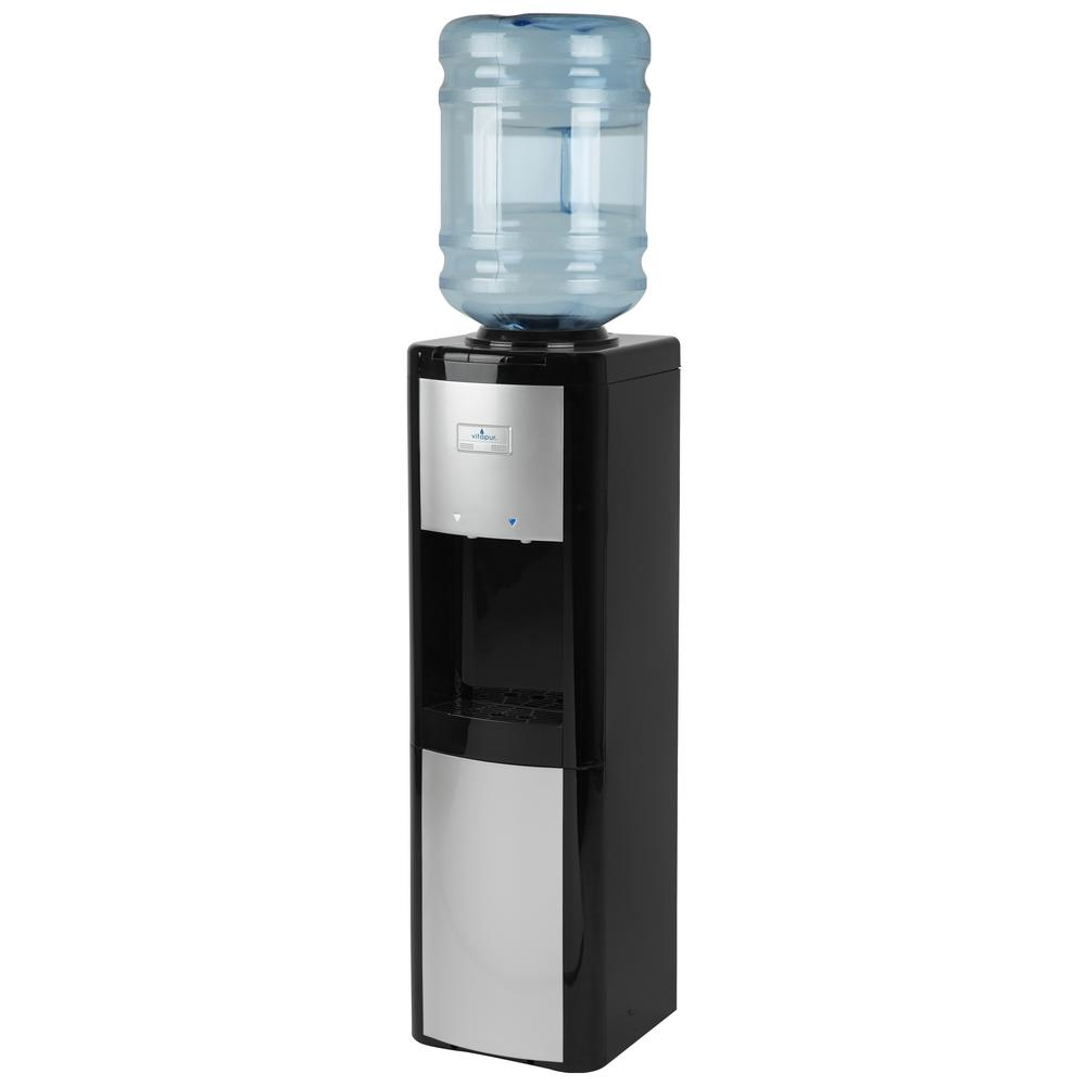 Vitapur 3-5 Gal.  ENERGY STAR Room/Cold Temperature Top Load Water Cooler Dispenser w/ Adjustable Cold Thermostat Black/Platinum
