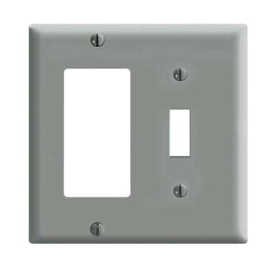 2-Gang Standard Size 1-Toggle 1-Decora Plastic Combination Wall Plate, Gray