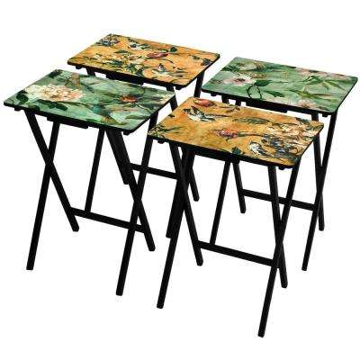 Oriental Furniture 19 in. x 13.75 in. Birds and Flowers TV Tray in Black (4-Pack)