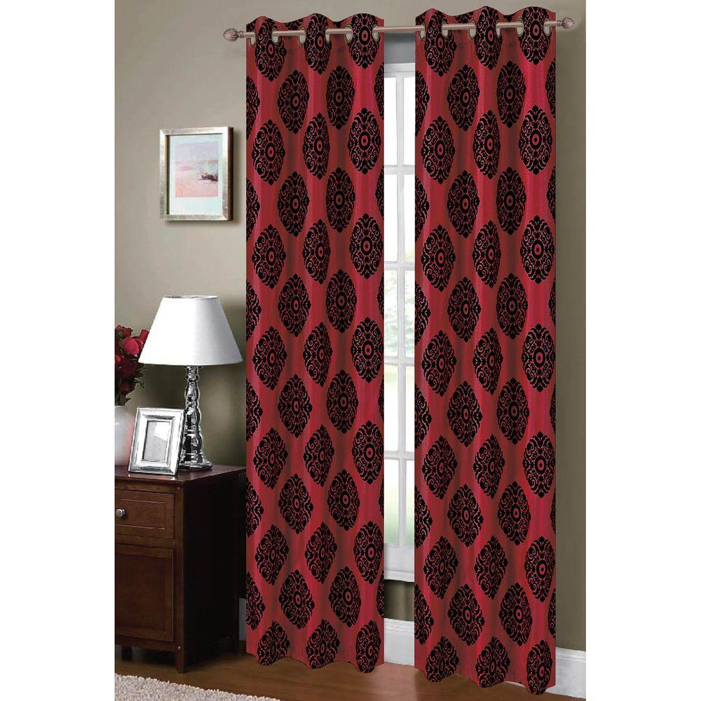 Burgundy And Black Curtains.Window Elements Semi Opaque Suzani Flocked Faux Silk 84 In L Grommet Curtain Panel Pair Burgundy Black Set Of 2