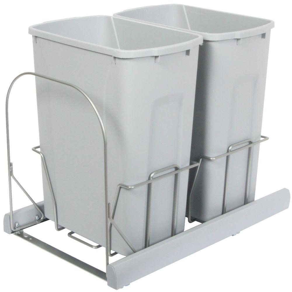 Knape & Vogt 17.31 in. x 14.75 in. x 20.13 in. In Cabinet Pull Out Bottom Mount Soft Close Trash Can