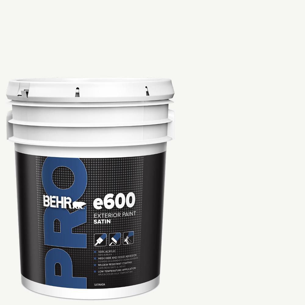 BEHR PRO 5 gal. e600 White Satin Enamel Exterior Paint