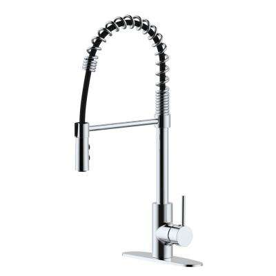 Lincoln Single-Handle Pull Down Sprayer Kitchen Faucet Spring Neck in Brushed Nickel