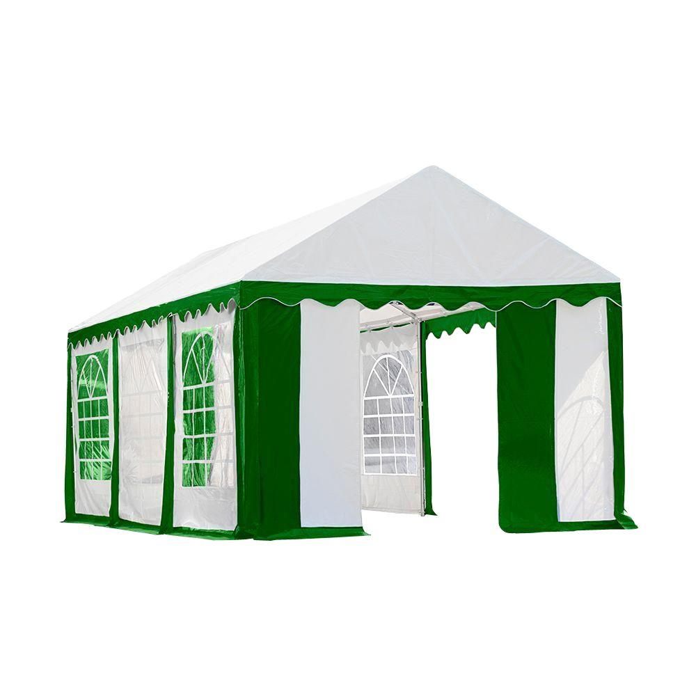 ShelterLogic 10 ft. x 20 ft. Green/White Party Tent with Enclosure Kit