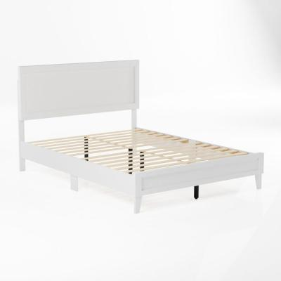 Leah Classic Wood Platform Bed - Queen - White
