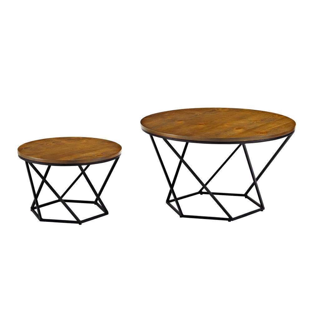 Walker Edison Furniture Company Geometric Wood Nesting Oak And Black Coffee  Tables