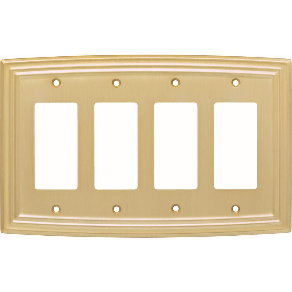 Liberty 4-Gang Classical Quad Decorator Wall Plate, Bayview Brass ...