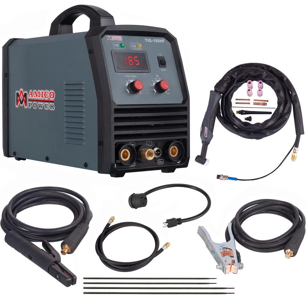 AMICO POWER Amico 180 Amp High Frequency TIG Torch/Stick/ARC DC Inverter Welder 115/230 Volt. Dual Voltage Welding