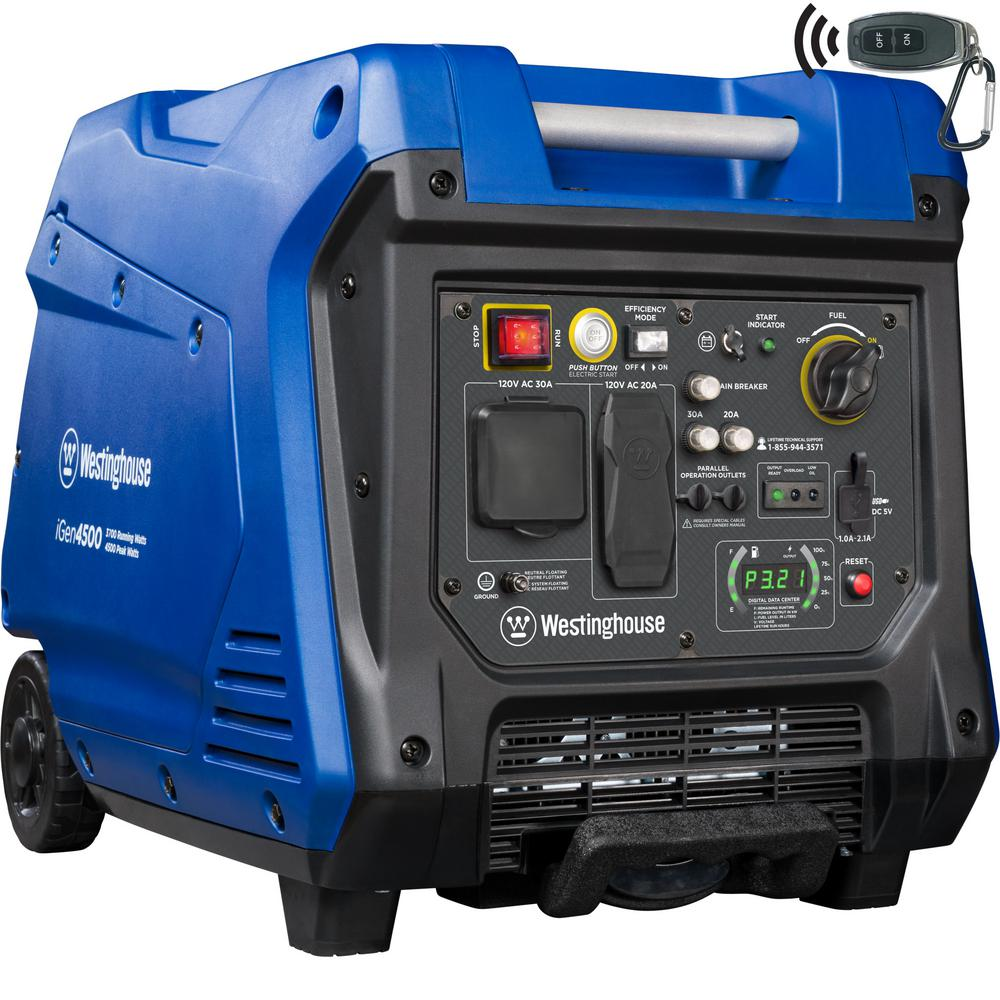 Westinghouse iGen4500 4,500/3,700 Watt Gas Powered Inverter Generator with LED Display, Electric/Remote Start and RV-Ready Outlet