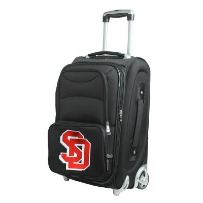 Denco NCAA South Dakota 21 in. Black Carry-On Rolling Softside Suitcase