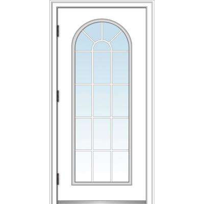 32 in. x 80 in. Classic Right-Hand Outswing Full Lite Round Top Clear Primed Steel Prehung Front Door with Brickmould