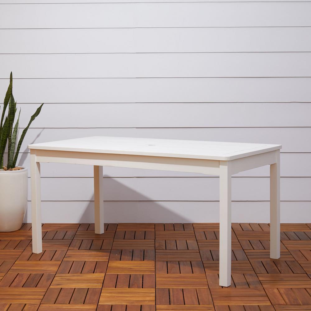 Vifah Bradley 59 In X 32 White Acacia Patio Dining Table