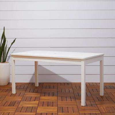 Bradley 59 in. x 32 in. White Acacia Patio Dining Table