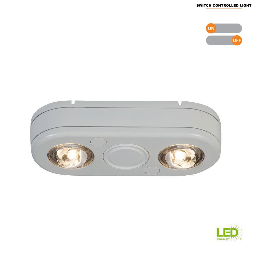 All Pro Revolve White Twin Head Outdoor Integrated Led Security Flood Light At 3500k Bright Switch Controlled