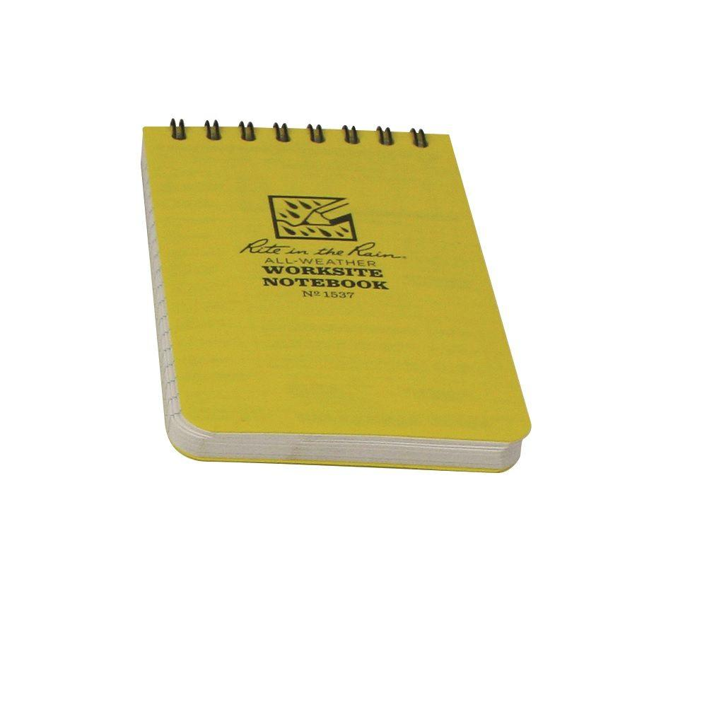 Rite in the rain 3 in x 5 in top spiral yellow for Construction organizer notebook
