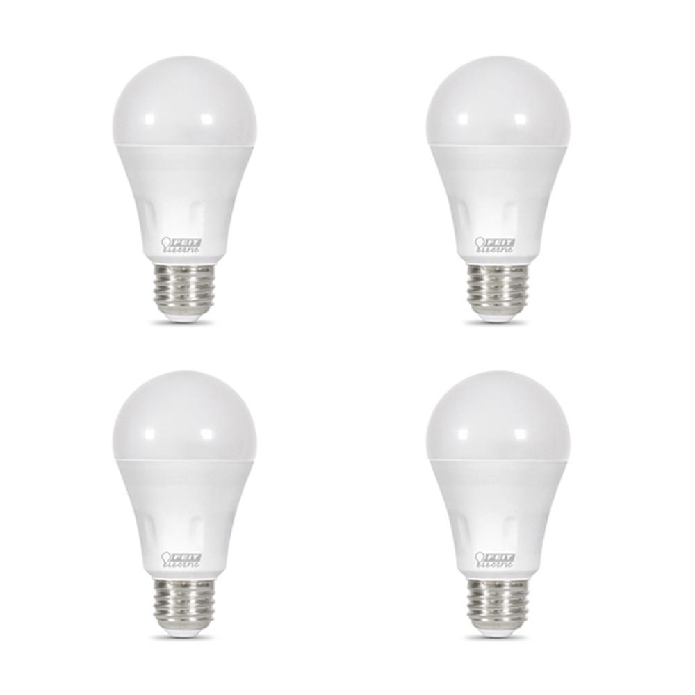 Feit Electric 40-Watt Equivalent A19 Non-Dimmable Blue Laser and Bright White Dual Mode LED Light Bulb (4-Pack)