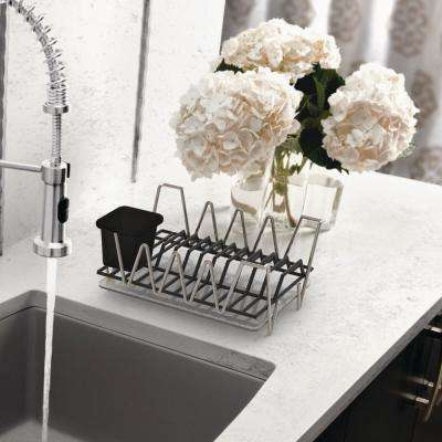 Compact Chrome Dish Rack Set