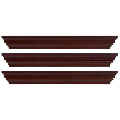 Madison 24 in. x 4 in. Espresso Contoured Wall Ledge and Shelf (Set of 3)