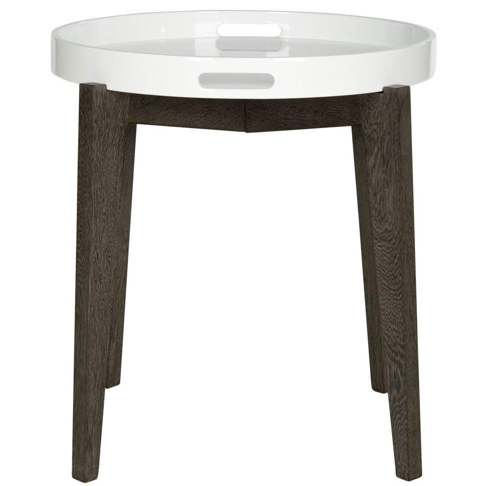 Ben White and Brown Side Table