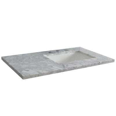 37 in. W x 22 in. D x 2 in. H White Carrara Vanity Top with Right Side Rectangular Sink