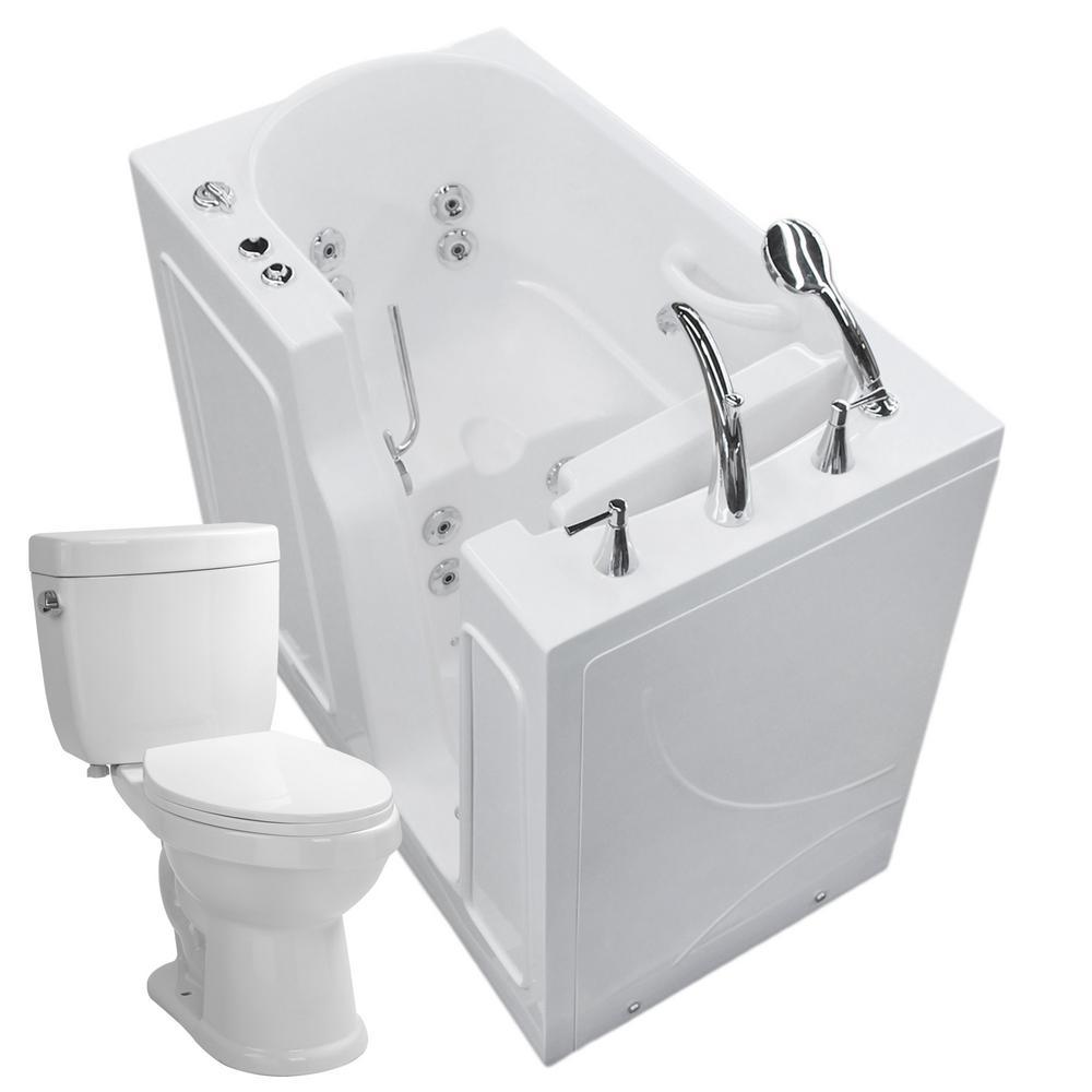 45.75 in. Walk-In Whirlpool Bathtub in White with 1.6 GPF Single Flush Toilet