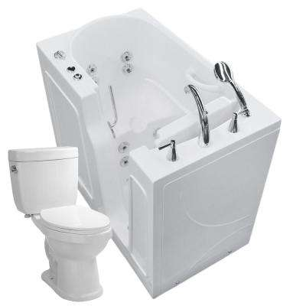 Nova Heated 45.75 In. Walk In Whirlpool Bathtub In White With 1.6 GPF Single