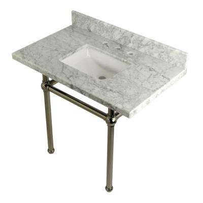 Square-Sink Washstand 36 in. Console Table in Carrara with Metal Legs in Polished Nickel