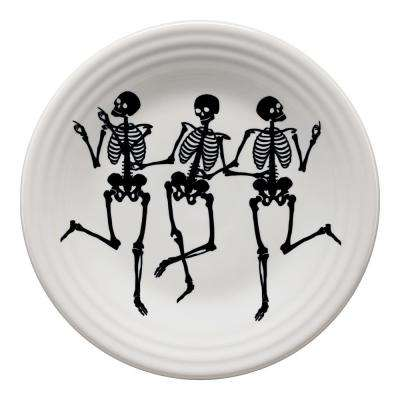 White Trio of Skeletons Luncheon Plate