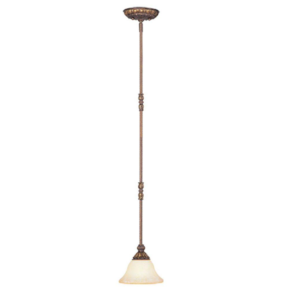 Livex Lighting Providence 1-Light Crackled Greek Bronze with Aged Gold Accents Incandescent Mini Pendant