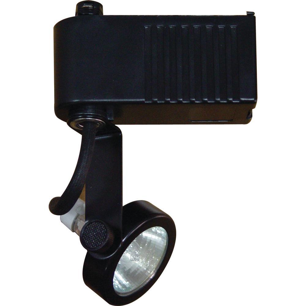 1-Light Black Low Voltage Adjustable Small Gimbal Ring Track Lighting Head