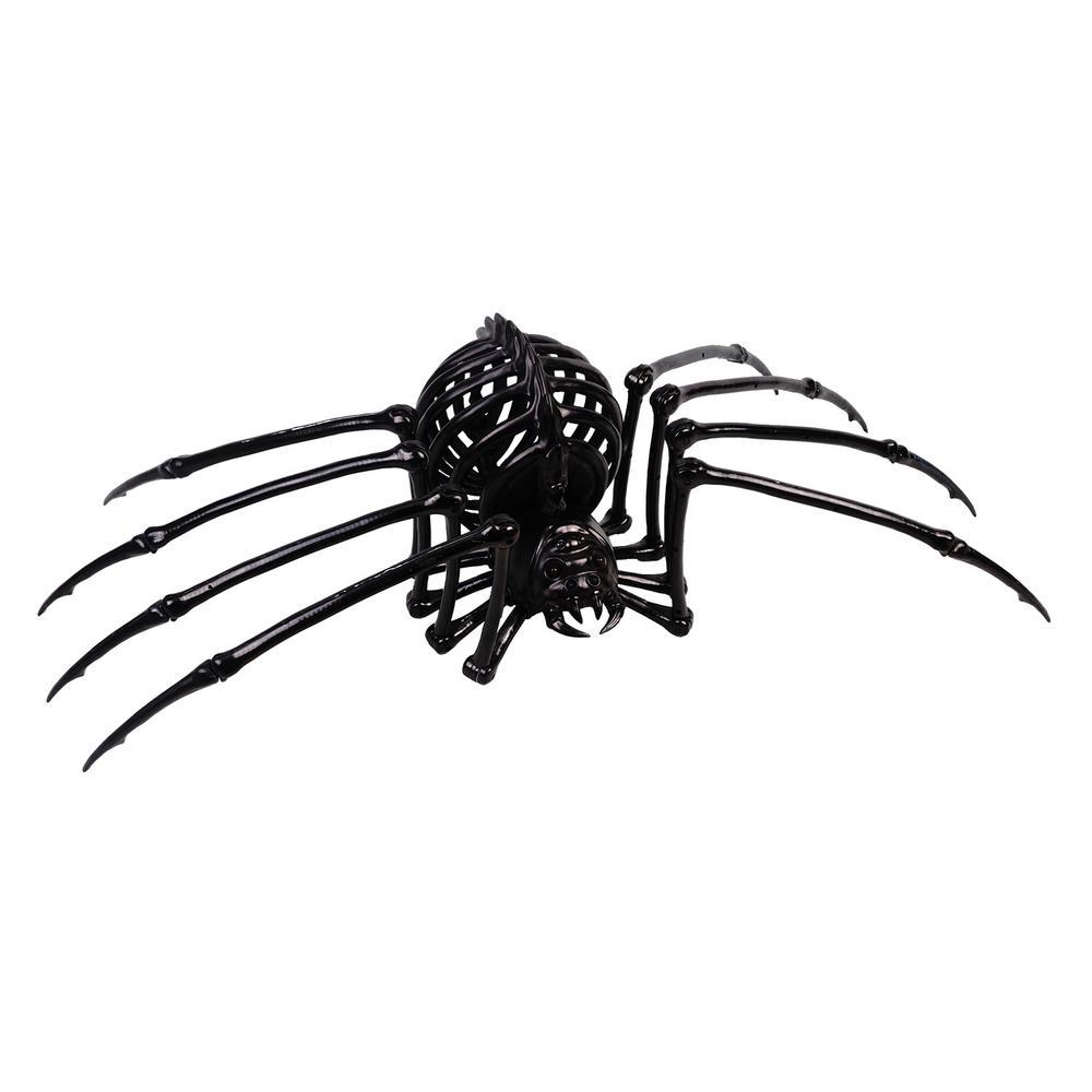 17 in. Black Skeleton Spider with LED Illuminated Eyes