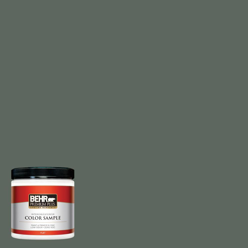 8 oz. #N420-6 Pine Mountain Flat Interior/Exterior Paint and Primer in