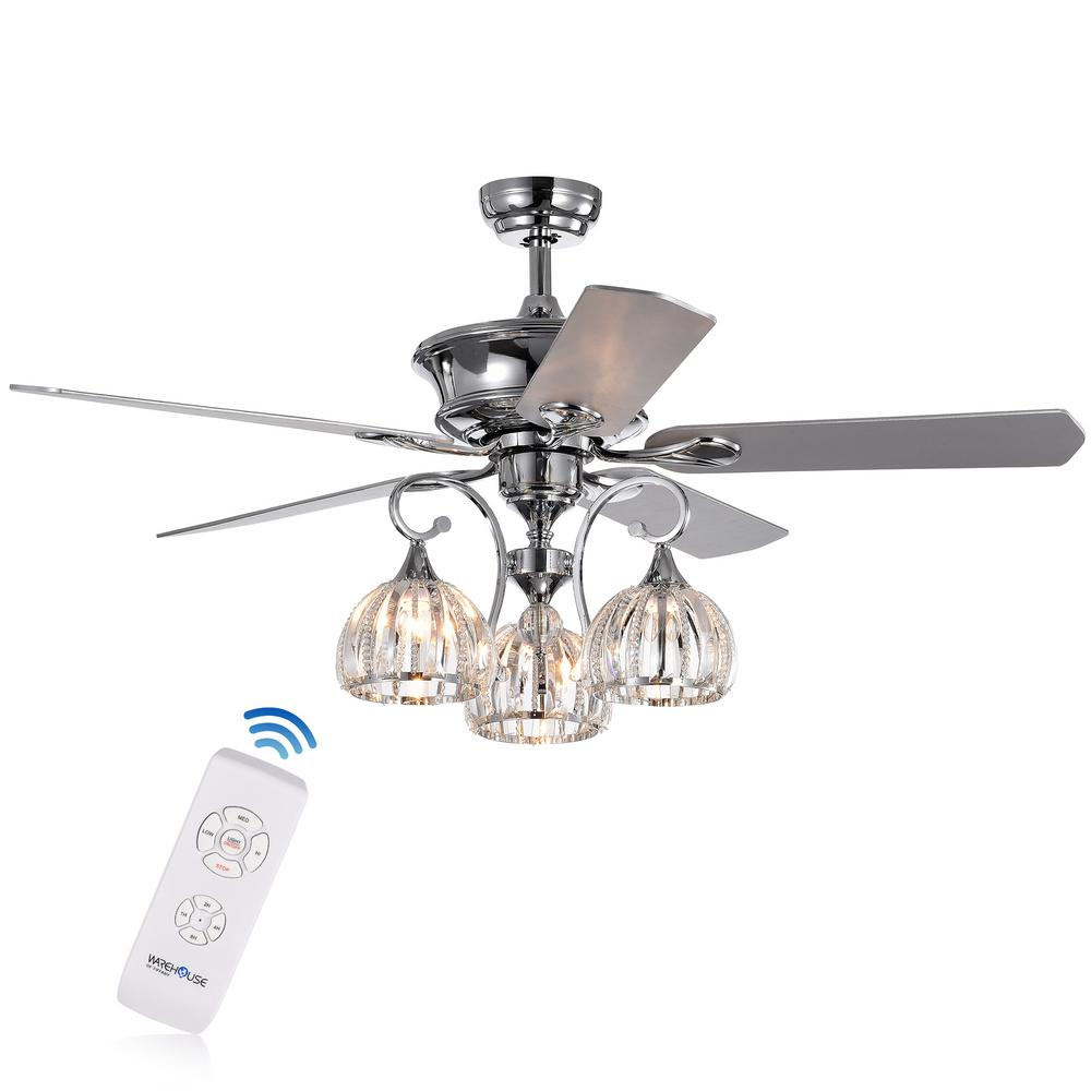 Warehouse of Tiffany Mavyn 52 in. Indoor Chrome Ceiling Fan with Light Kit and Remote Control