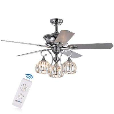 Mavyn 52 in. Indoor Chrome Ceiling Fan with Light Kit and Remote Control