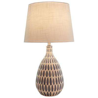 White linen table lamp with ceramic base