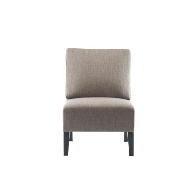 Light Brown Modern Fabric Armless Accent Chair with Natural Wood Legs