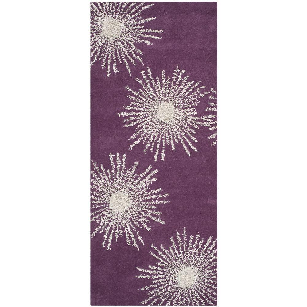 Purple Rug 2 Ft: Safavieh Soho Purple/Ivory 2 Ft. 6 In. X 8 Ft. Runner