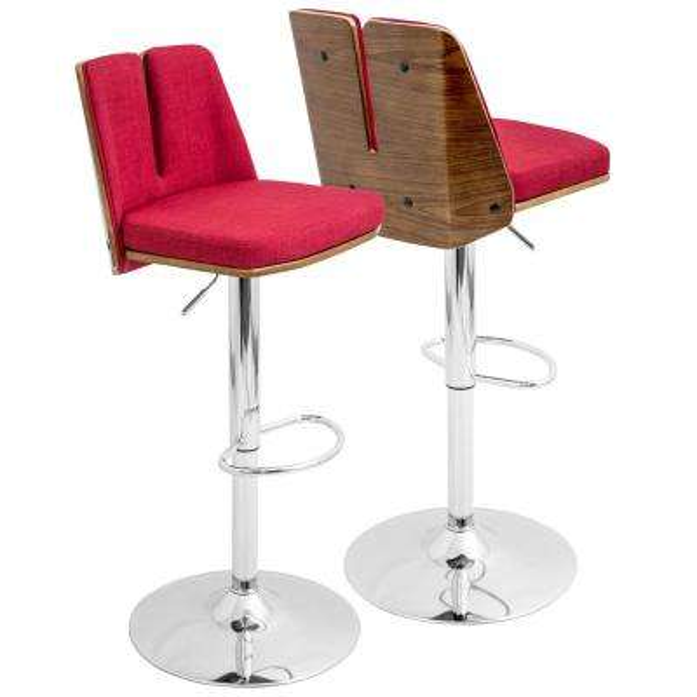 Varzi Walnut and Red Adjustable Barstool