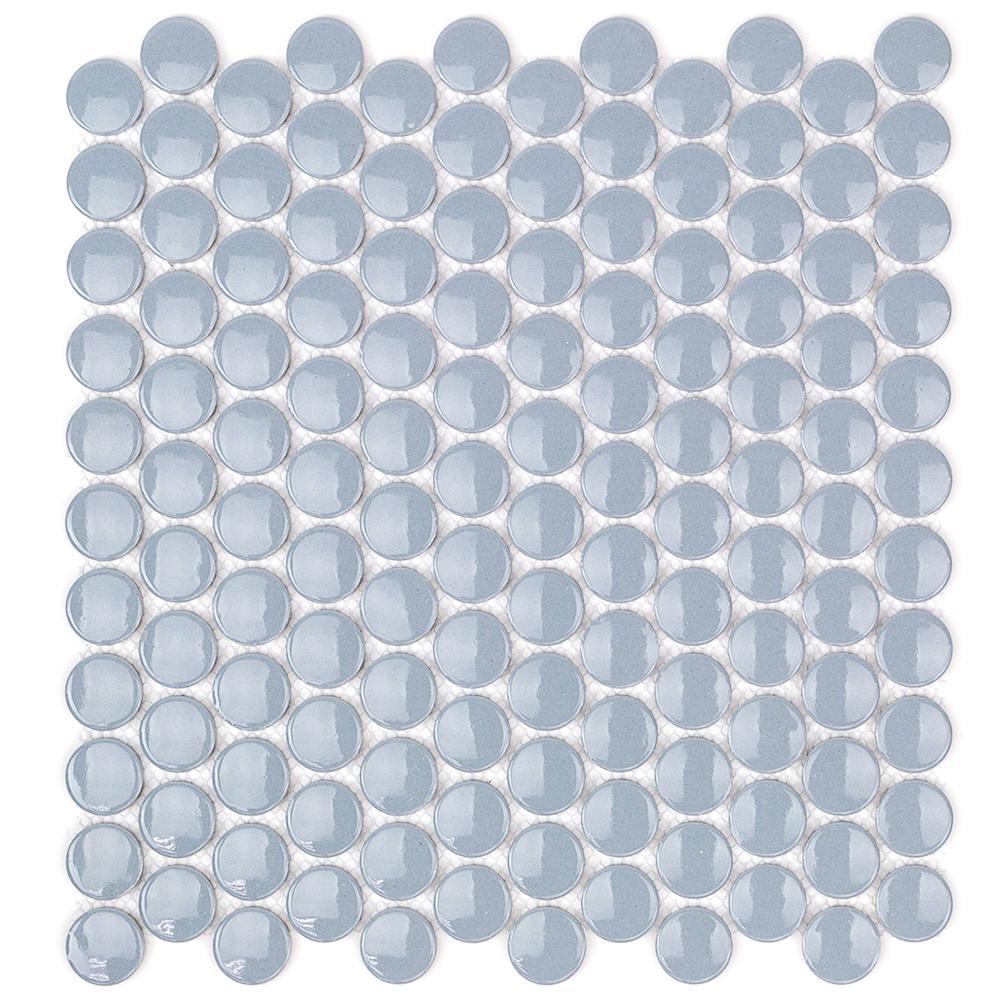 Splashback Tile Bliss Edged Penny Round Polished Sage Ceramic Mosaic ...