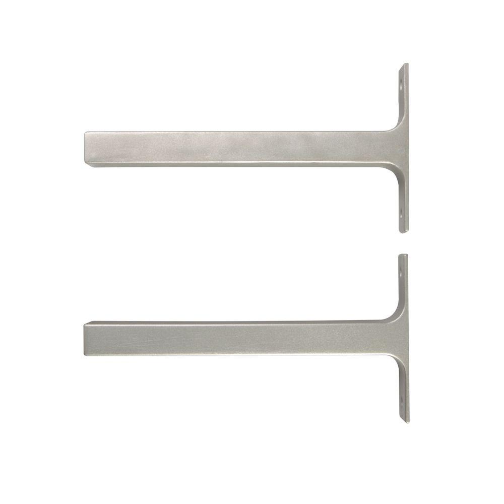 JOHN STERLING 8.1 in. x 1 in. Platinum Bauhaus Deco Shelf Brackets (Set of 2)