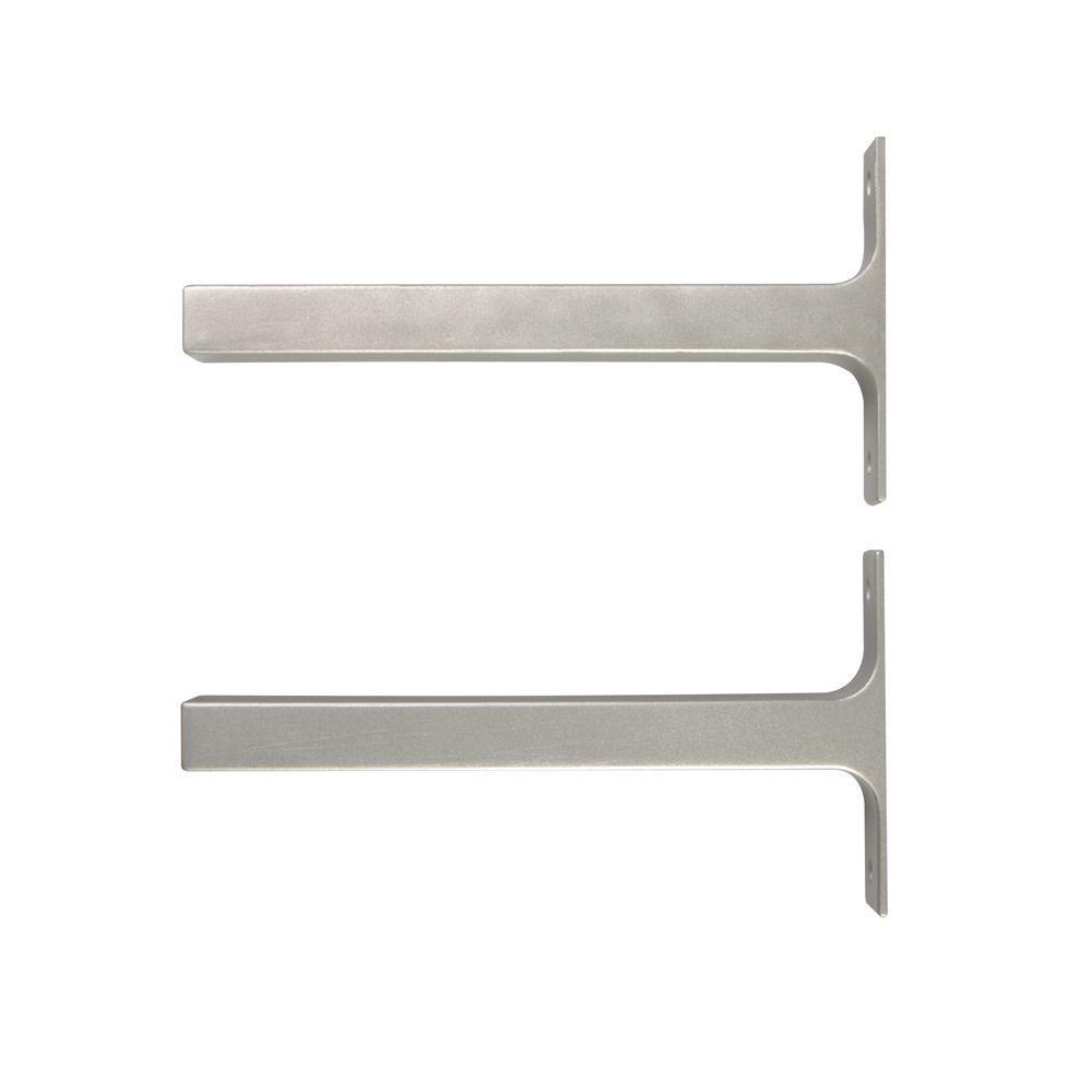 JOHN STERLING 8.1 in. x 1 in. Platinum Bauhaus Deco Shelf Brackets (Set of 2)