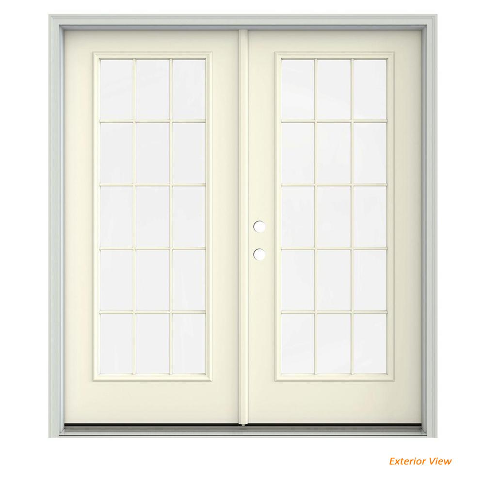 Jeld Wen 72 In X 80 In Vanilla Painted Steel Right Hand Inswing 15
