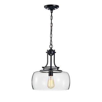 Karha 15 in. 1-Light Indoor Black Finish Pendant Chandelier