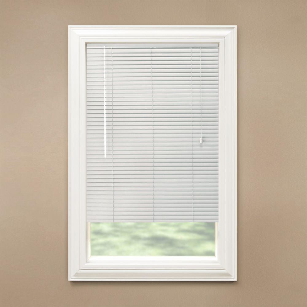 Hampton Bay Cut-to-Width White 1-3/8 in. Room Darkening Aluminum Mini Blind - 19.5 in. W x 48 in. L