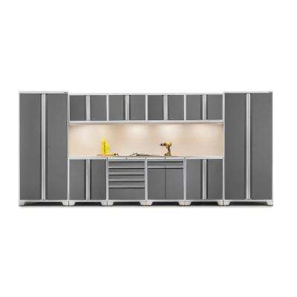 Pro 3 Series 85 in. H x 184 in. W x 24 in. D 18-Gauge Welded Stainless Steel Worktop Cabinet Set inPlatinum(12-Piece)