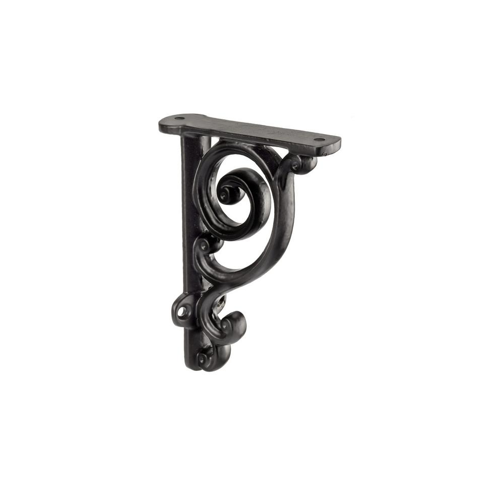 25 lbs., 3-17/32 in. Forged Iron Matte Black Shelf Bracket (Unitary)