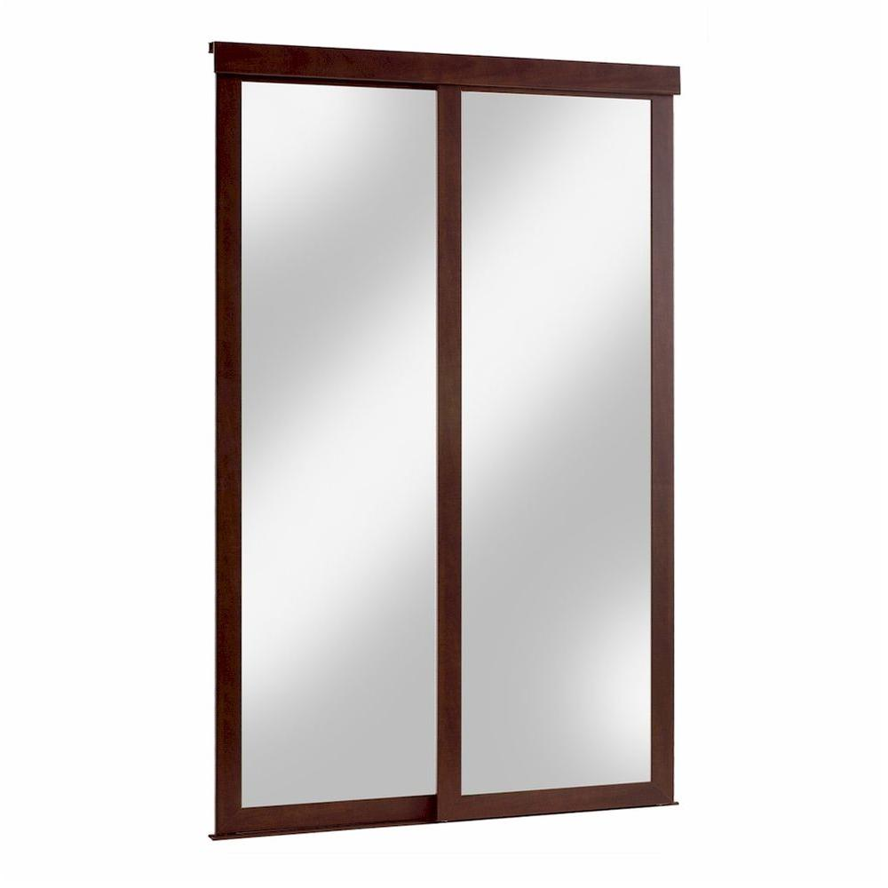 Pinecroft 60 in. x 80 in. Mirror Fusion Chocolate Frame Aluminum Sliding Door