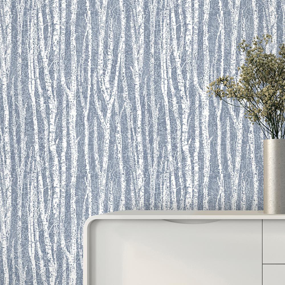 56.4 sq. ft. Toyon Blue Birch Tree Wallpaper
